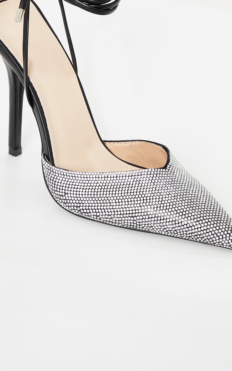 Black Diamante Toe Ankle Tie Court Shoe 3