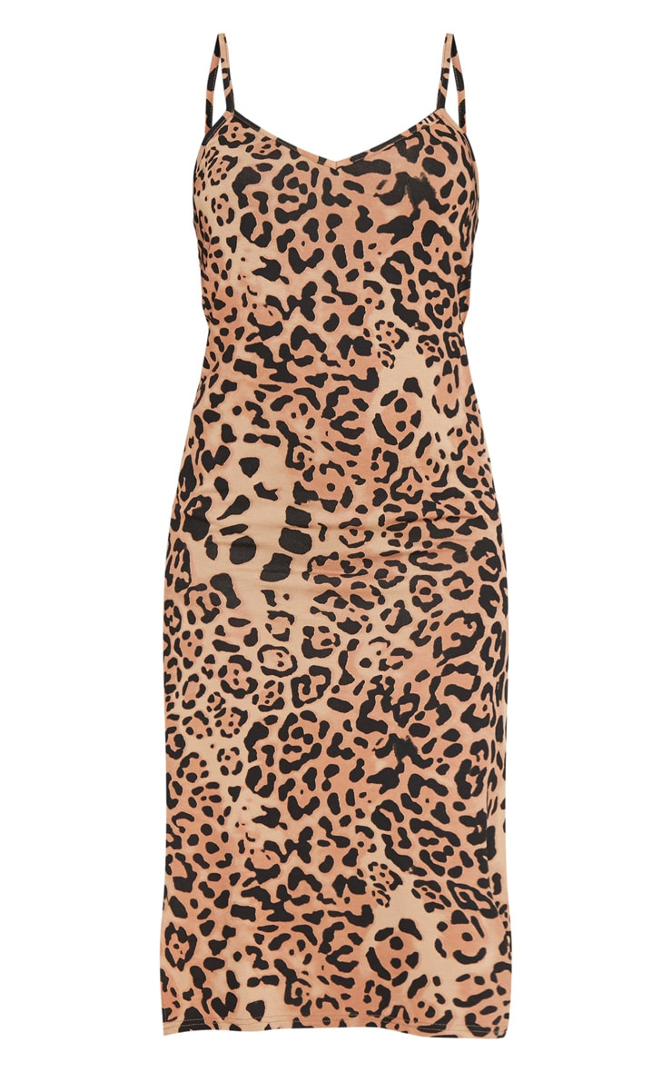 Tan Leopard Print Midi Split Dress 3