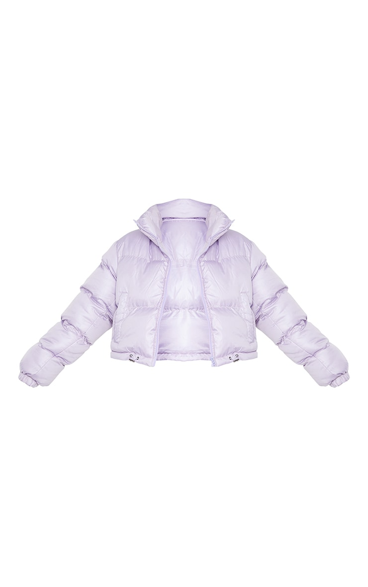 Dusty Lilac Nylon Toggle Hem Puffer Jacket 5