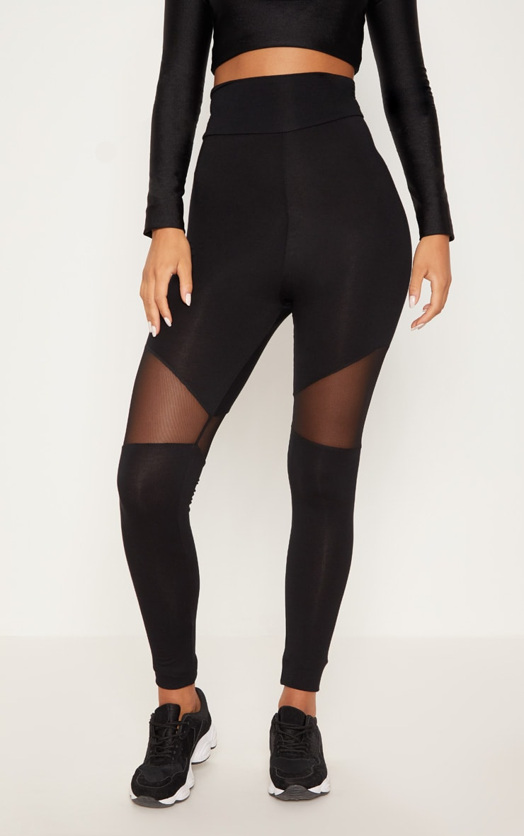 Black Mesh Panel Jersey Legging  2