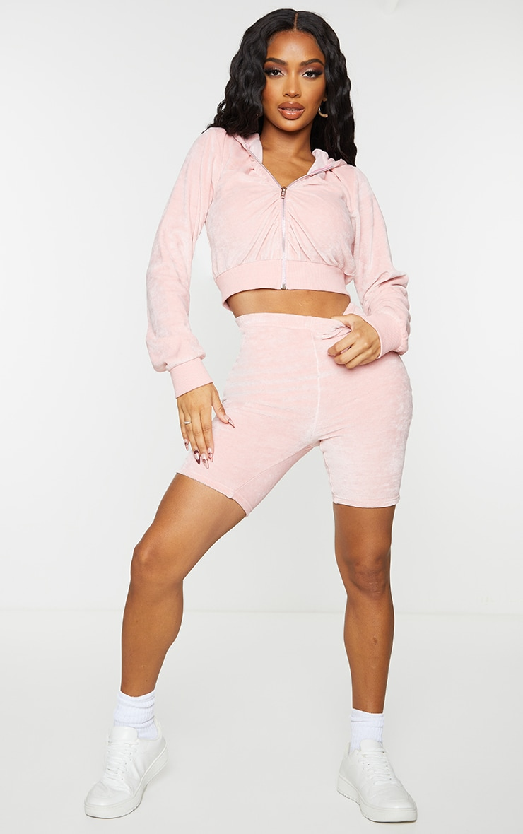 Shape Baby Pink Velour Ruched Bum Bike Shorts 1