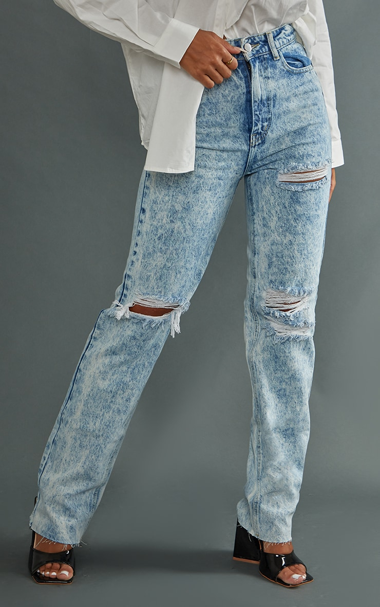 PRETTYLITTLETHING Acid Wash Ripped Long Leg Straight Jeans 2