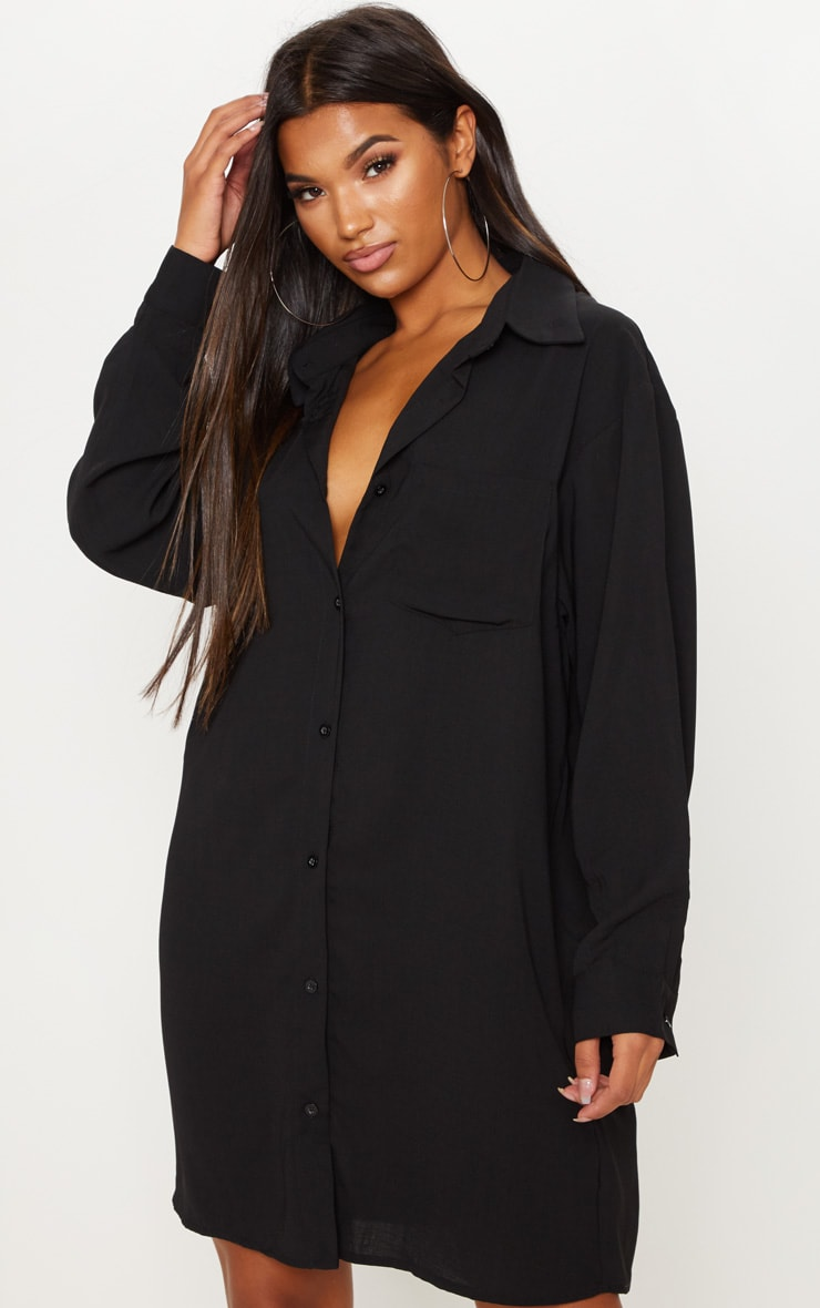 Black Oversized Boyfriend Shirt Dress 4