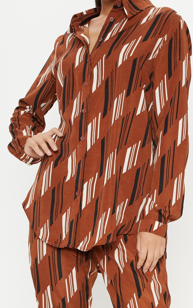 Brown Printed Oversized Shirt 5