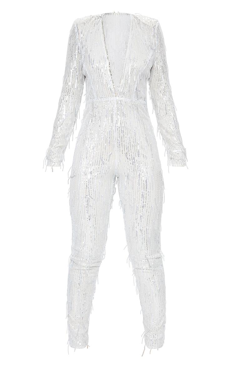 Silver Premium Tassel Sequin Plunge Shoulder Pad Jumpsuit 5