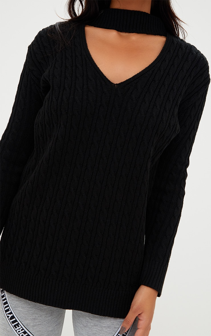 Black Choker Knitted Jumper 5