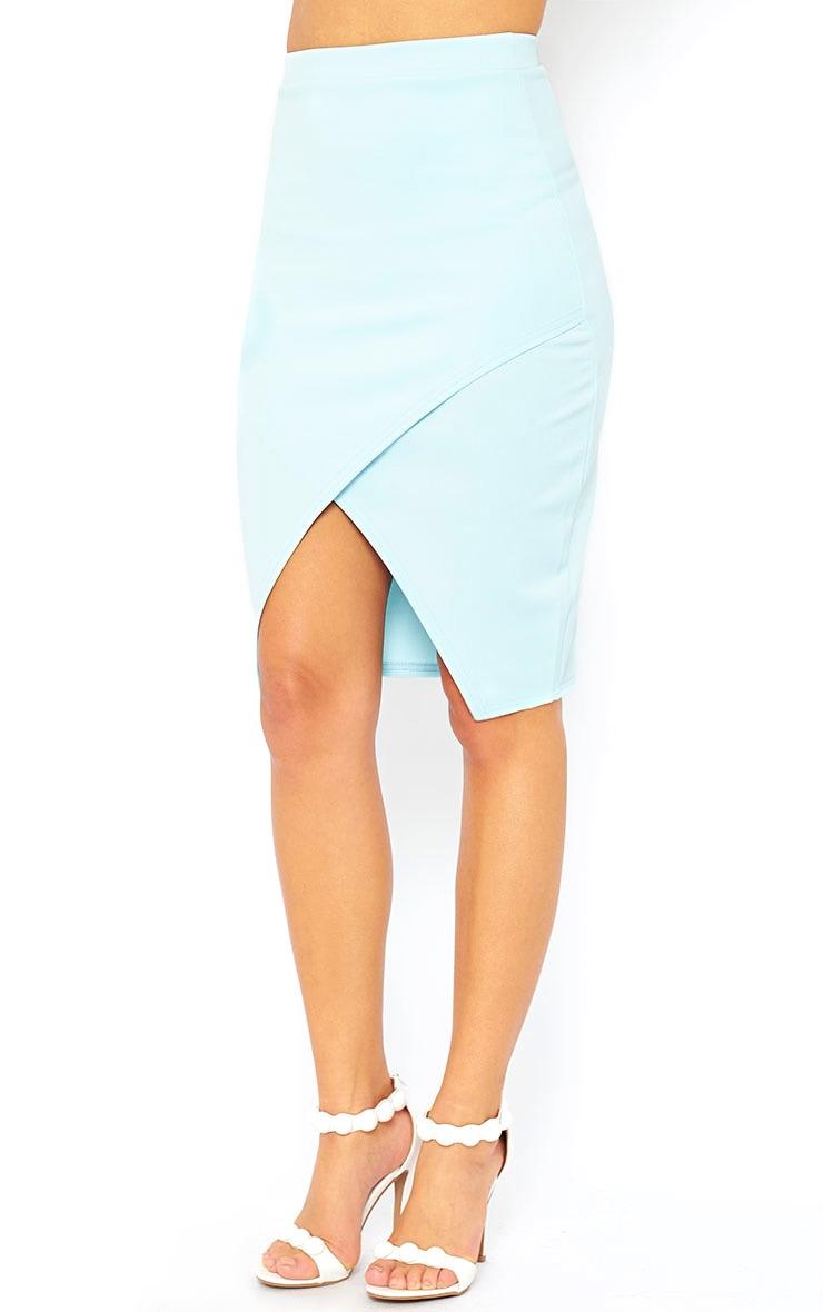 Melrose Powder Blue Scuba Midi Skirt 3