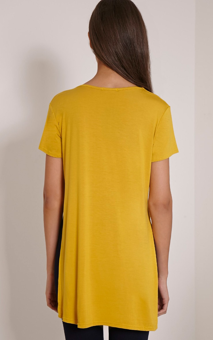 Basic Mustard Side Split T-Shirt 2