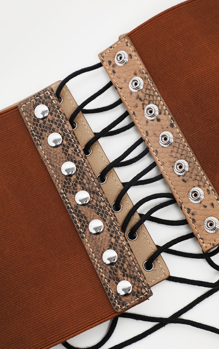 Brown Snake Lace Up Corset Belt  3