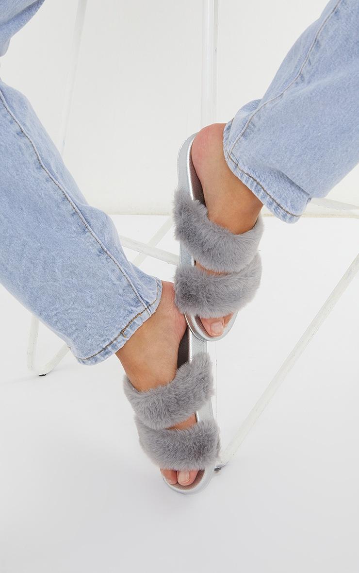 Grey Twin Strap Faux Fur Slides 2