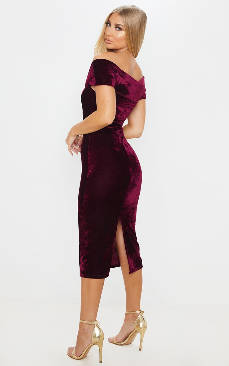 Burgundy Velvet Bardot V Bar Midi Dress 2