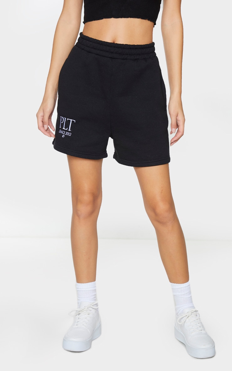 PRETTYLITTLETHING Black Established Slogan Sweat Shorts 2