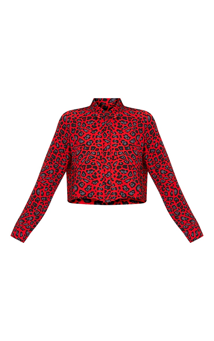 Harley Red Animal Print Woven Cropped Blouse 3