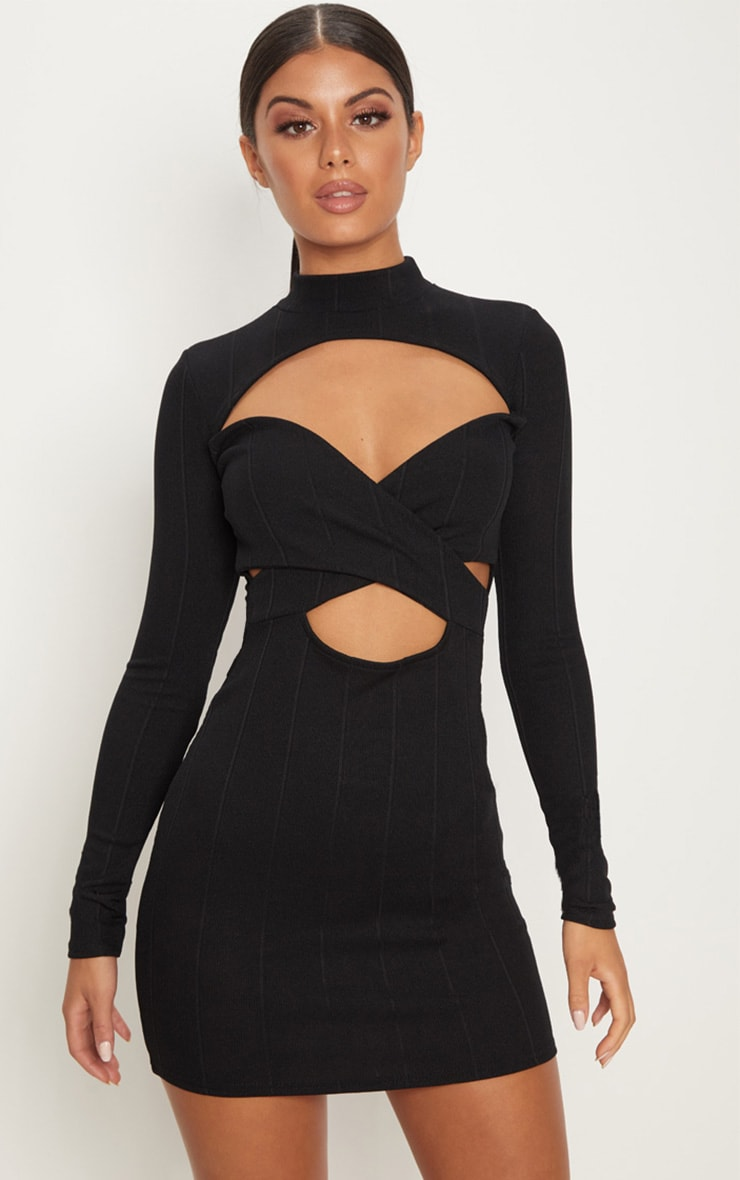 11b37bec8fcb Black Bandage High Neck Cut Out Long Sleeve Bodycon Dress image 1