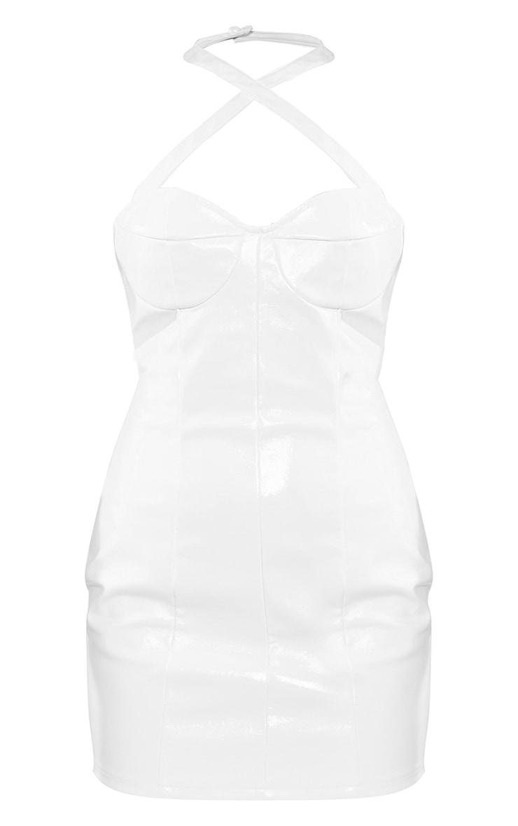 White Pu Halterneck Cup Detail Bodycon Dress 5