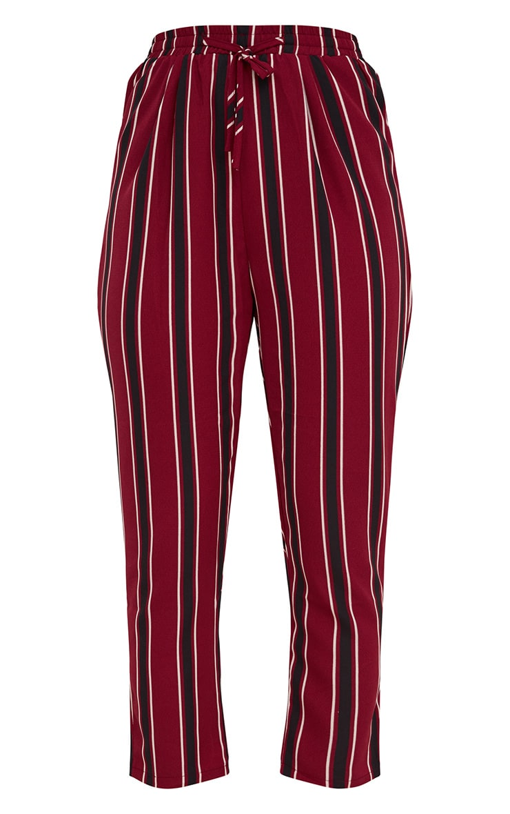 Burgundy Multi Stripe Casual Trousers 3