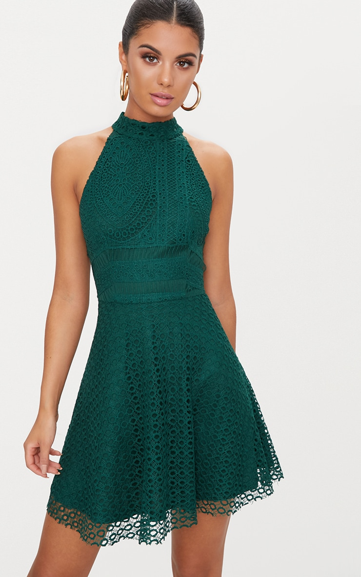 f21b9d486c Emerald Green Lace High Neck Skater Dress image 1