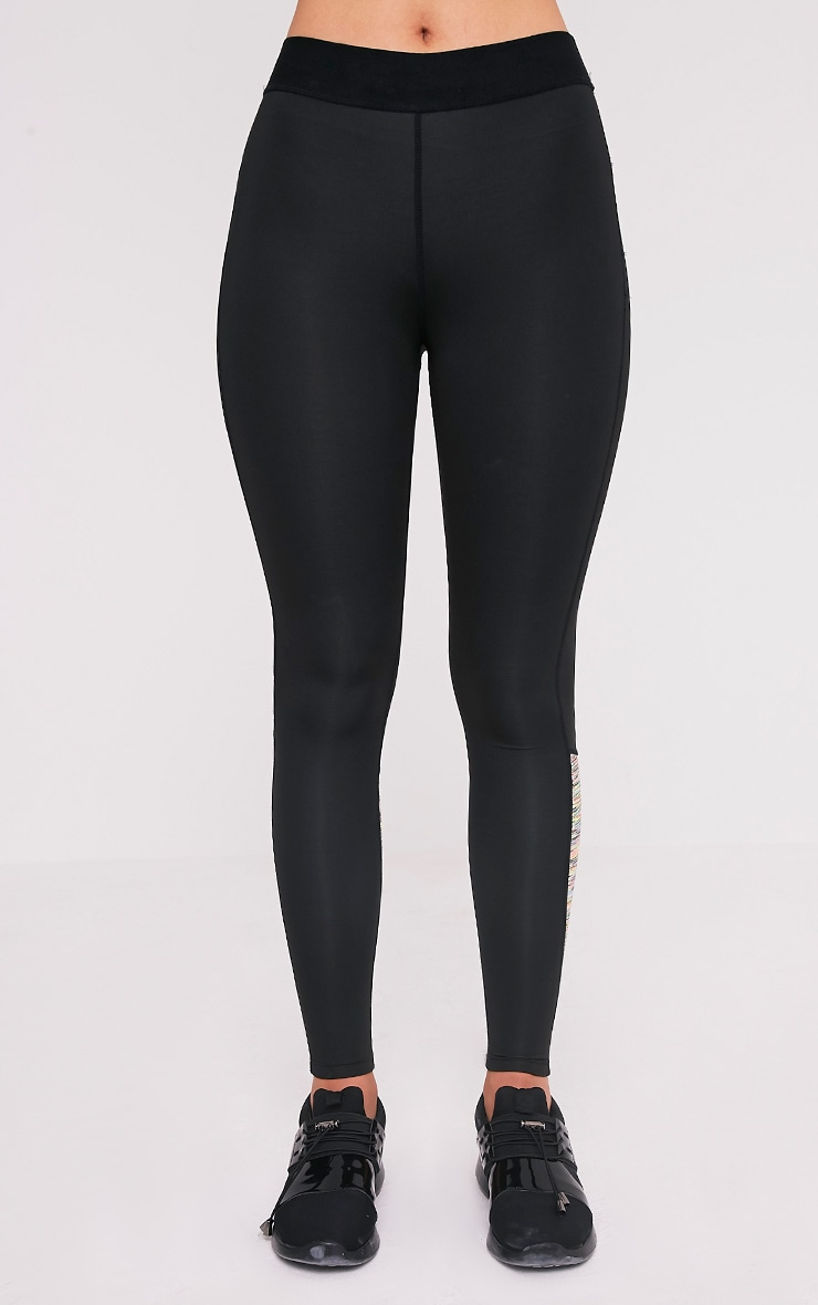 Sindie  Mutli Coloured Marl Panelled Gym Leggings 2