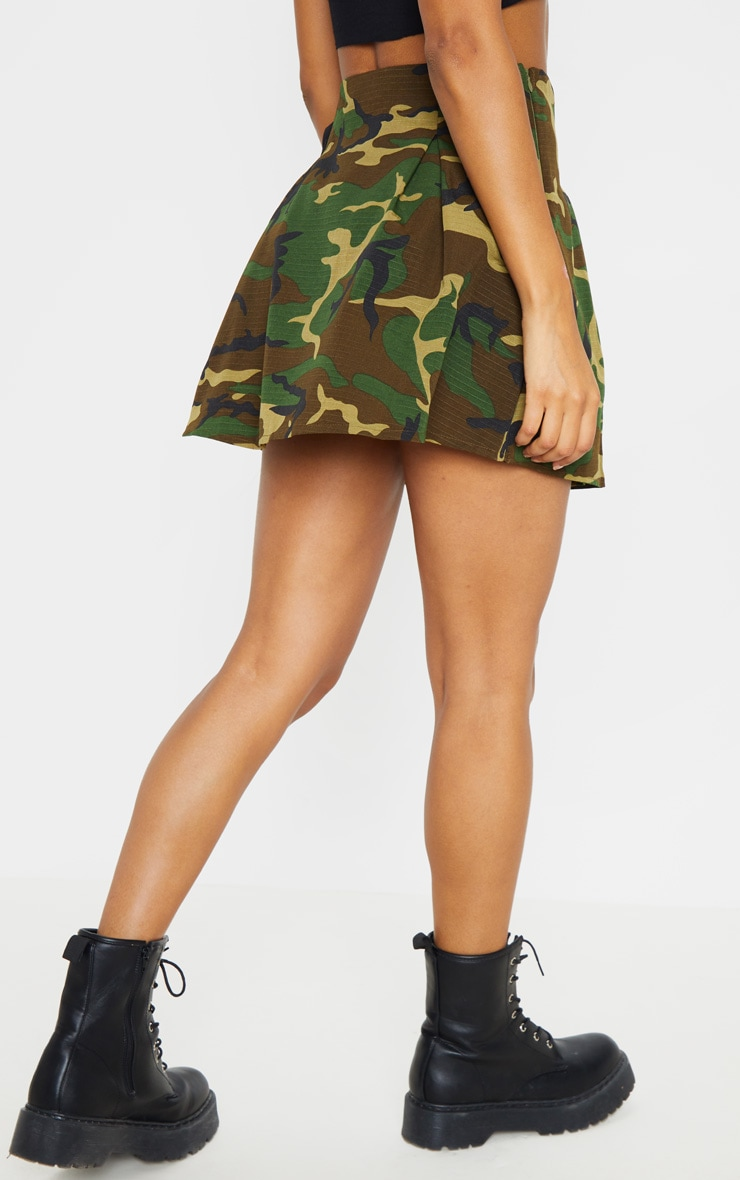 Khaki Camo Buckle Detail Tennis Skirt 4