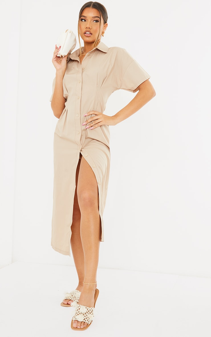 Stone Fitted Waist Short Sleeve Midi Shirt Dress 1
