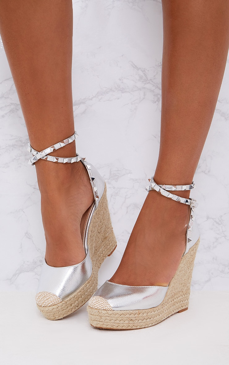 Silver Studded Strap Wedges 1