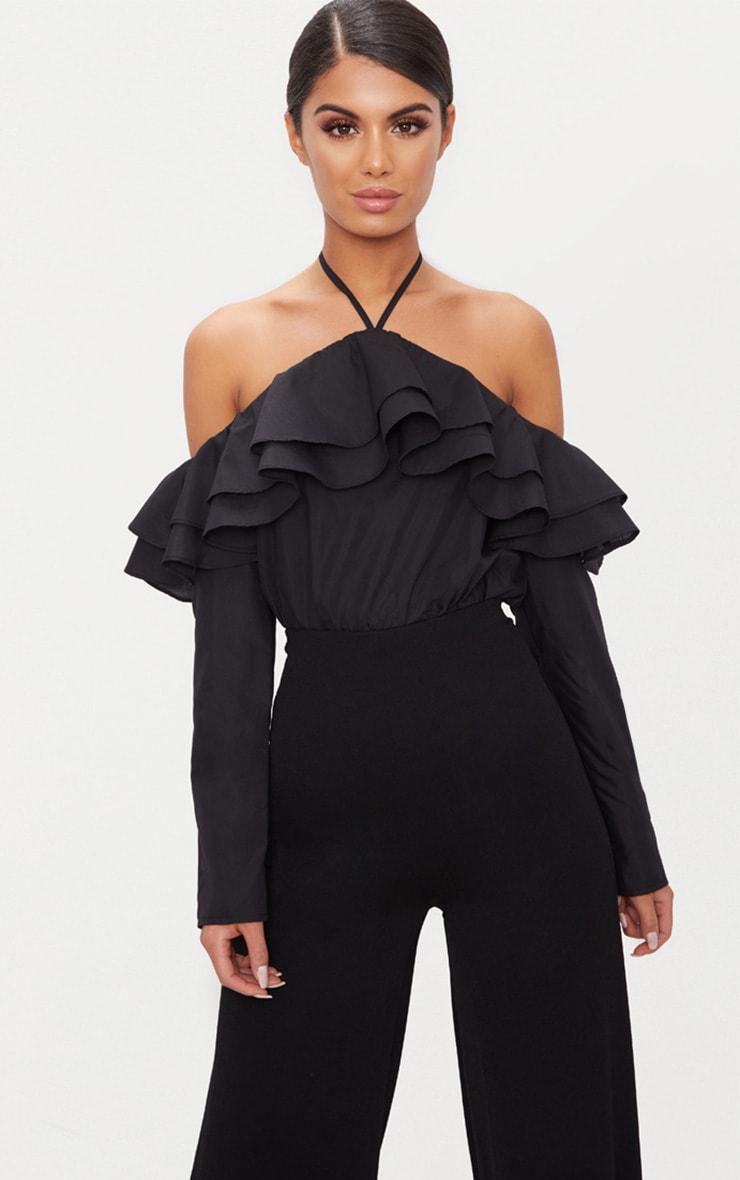 Black Ruffle Front Bardot Thong Bodysuit  1