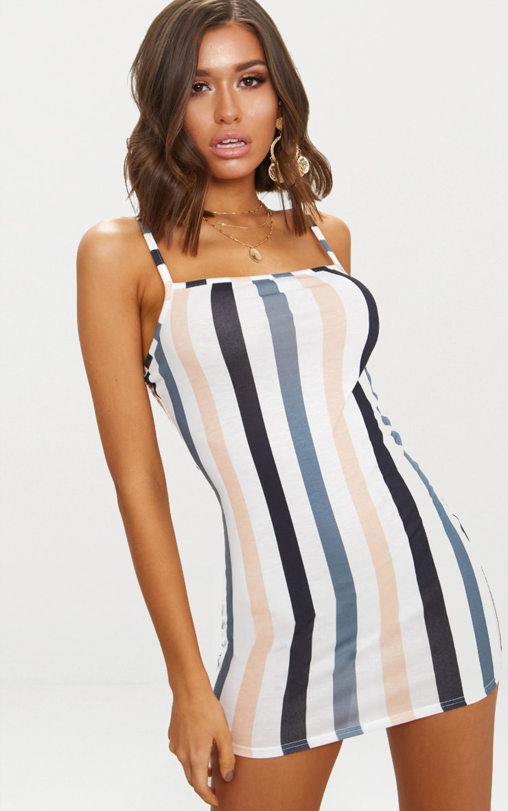 White Stripe Strappy Bodycon Dress 1