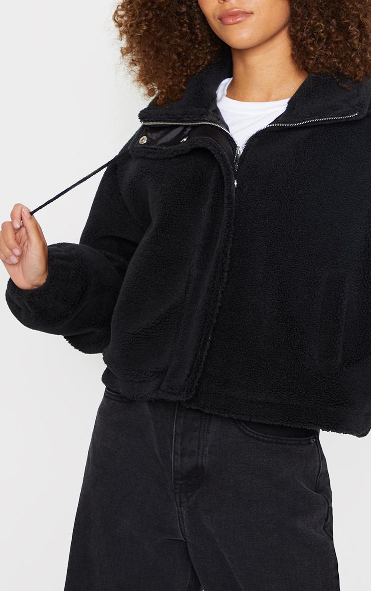 Black Short Teddy Zip Up Jacket 4
