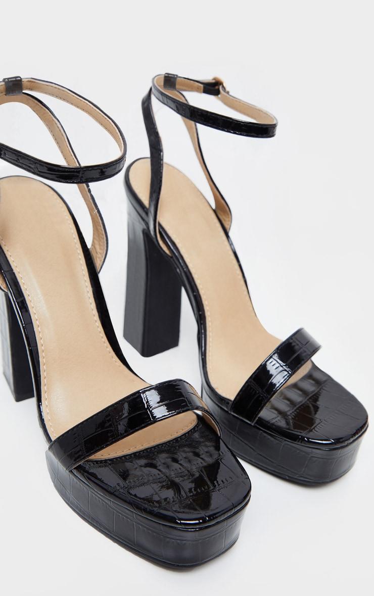 Black Platform High Strappy Sandal 4