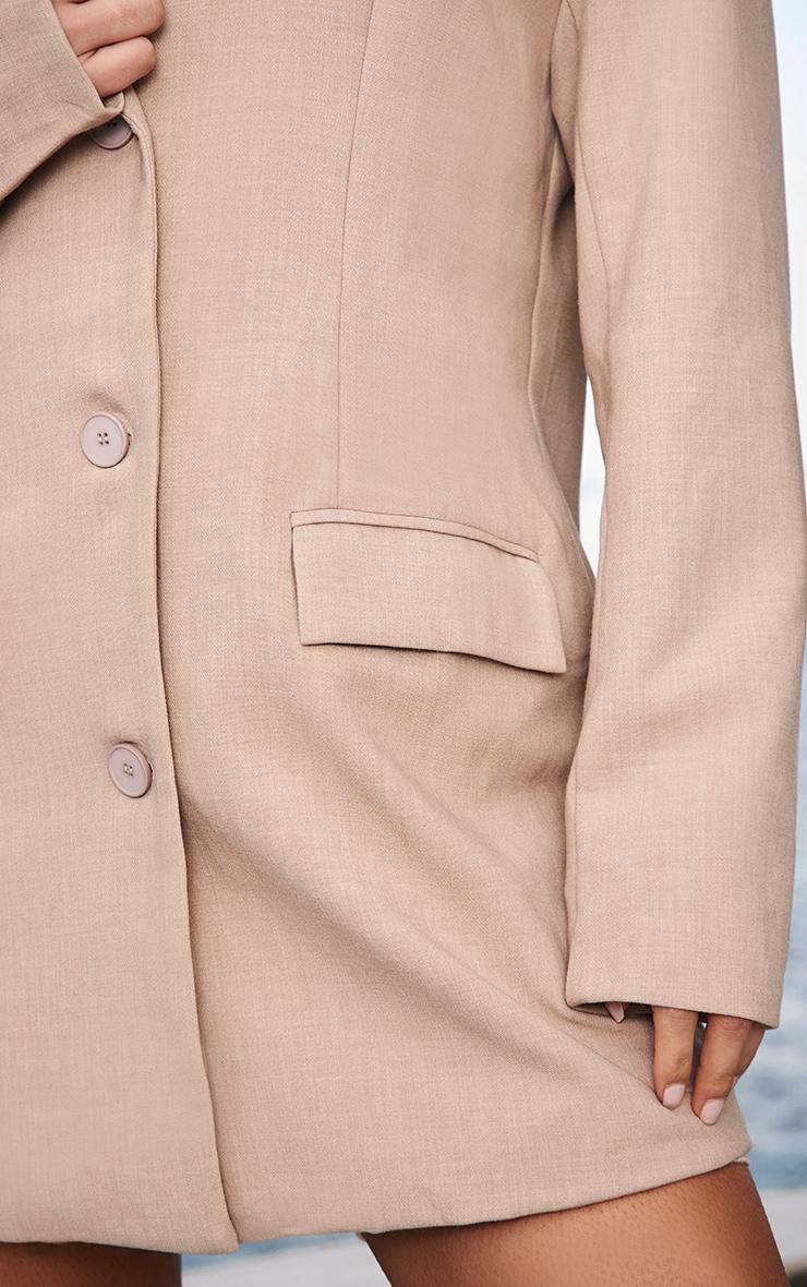 Stone Premium Woven Shoulder Padded Grandad Blazer 4