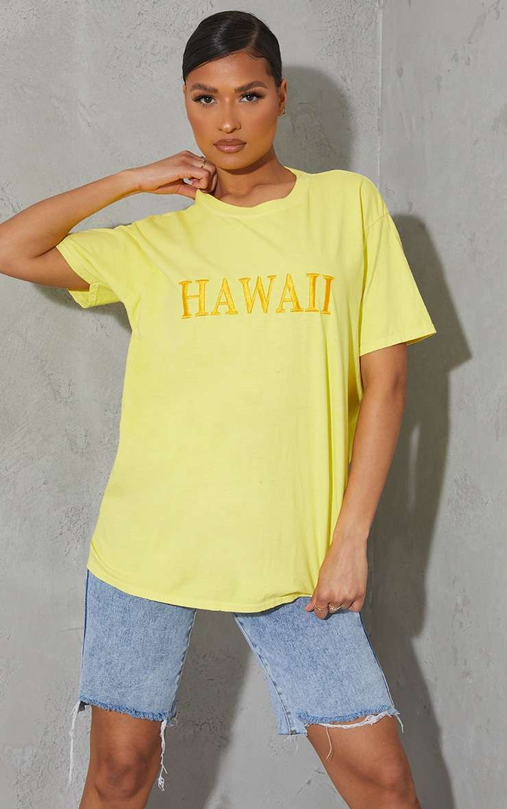 Yellow Hawaii Embroidered Washed T Shirt 1
