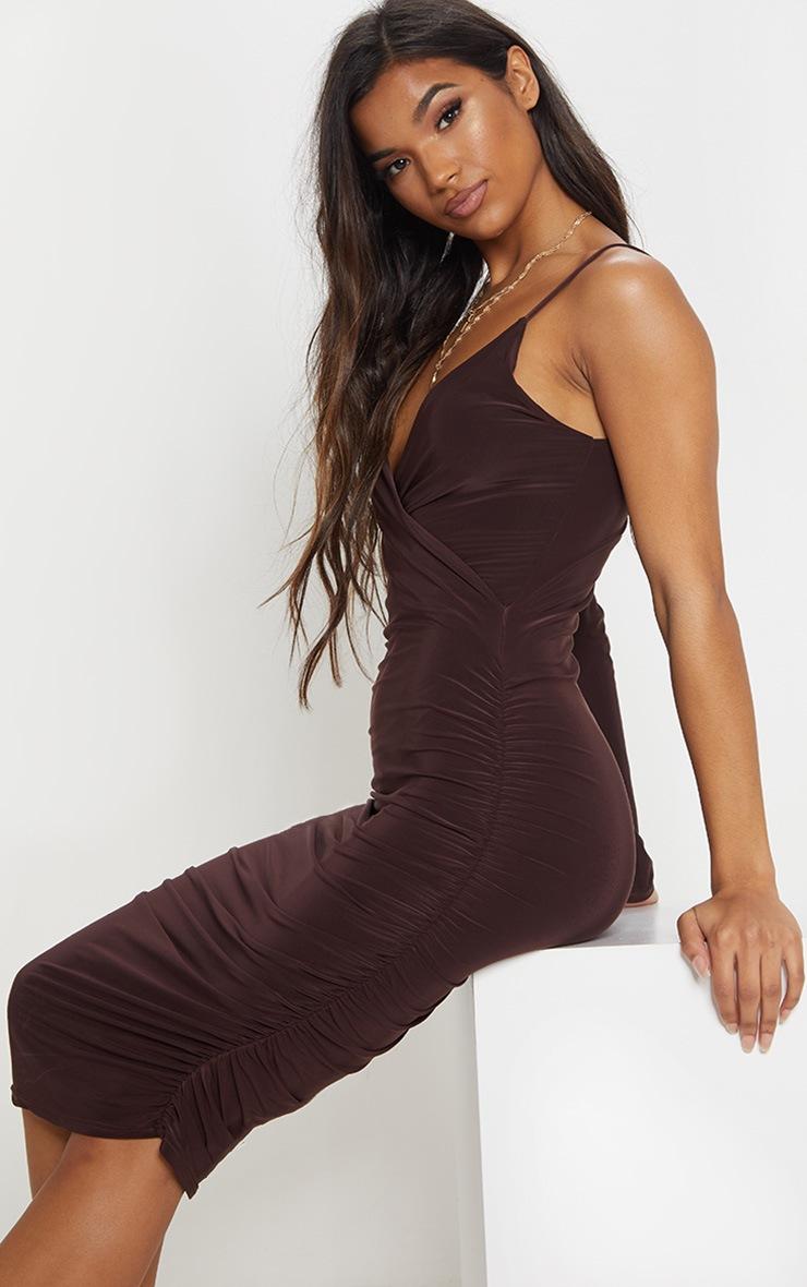 Chocolate Slinky One Shoulder Wrap Detail Midi Dress 5