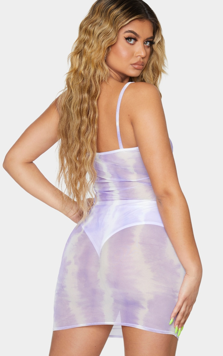 Lilac Tie Dye Sheer Mesh Strappy Ruched Bodycon Dress 2