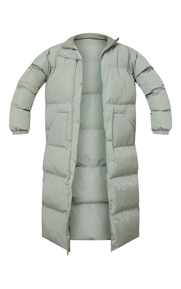 Tall Sage Green Tall Maxi Puffer Coat 5