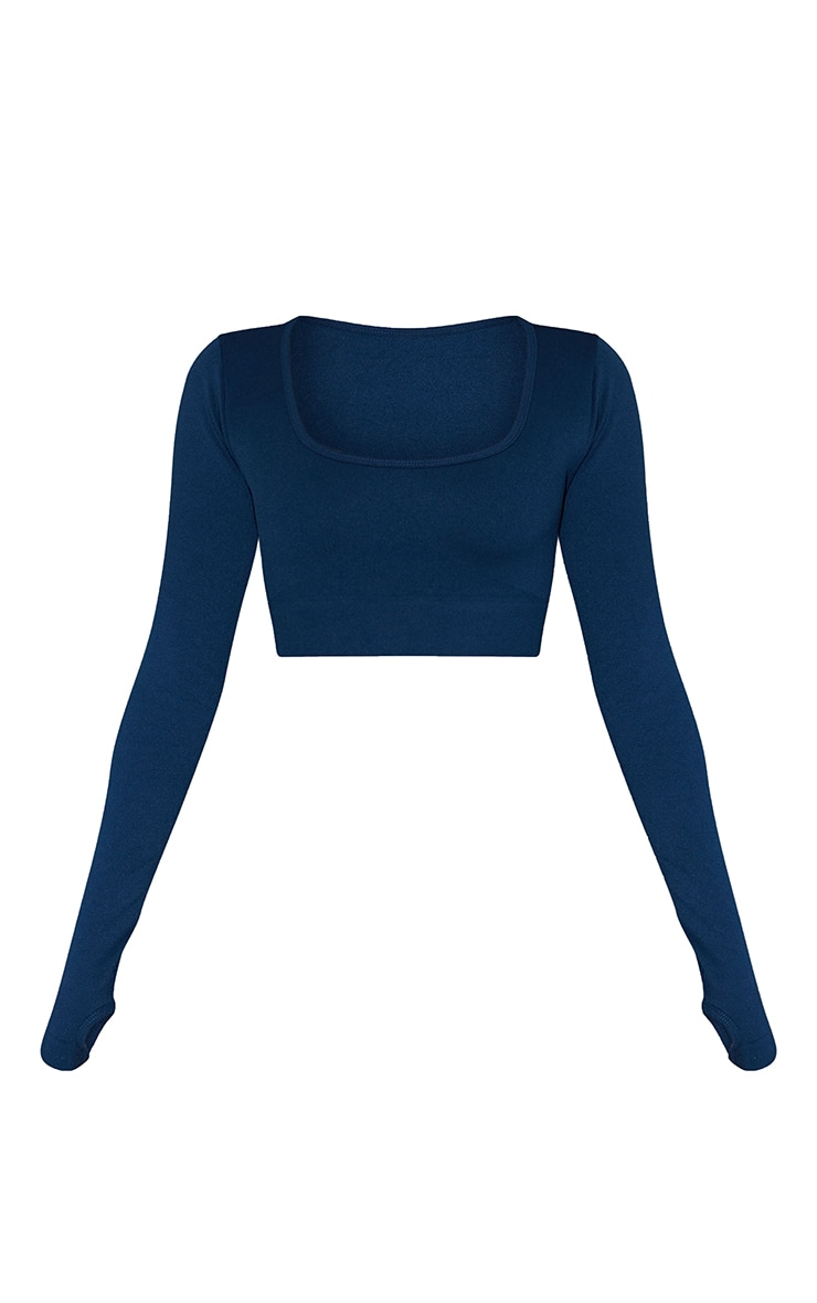 Navy Basic Seamless Square Neck Long Sleeve Gym Top 5