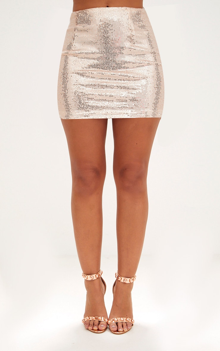 Rose Gold Sequin Mini Skirt 3