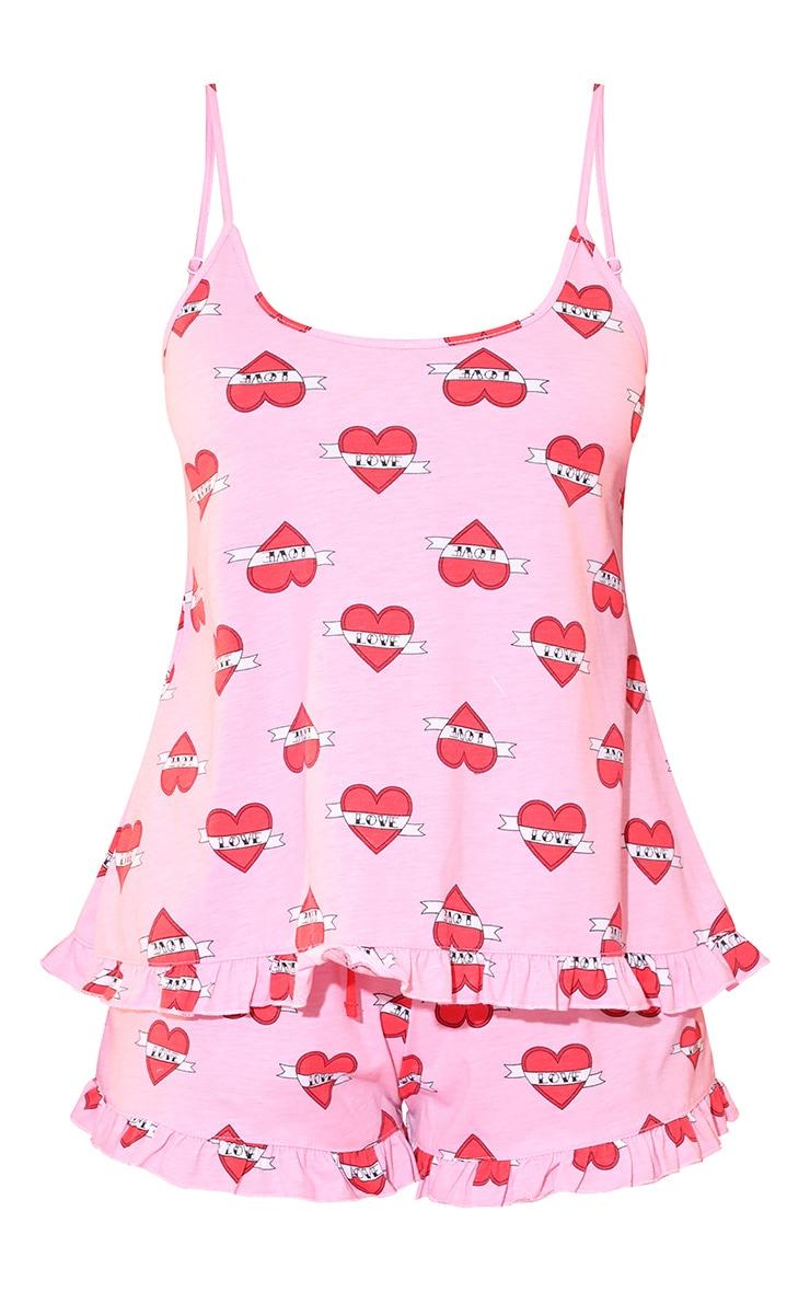 Love Heart Frill Cami Pink PJ Set 3