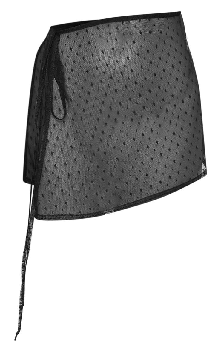 Sarong de plage noir en mesh à pois 3