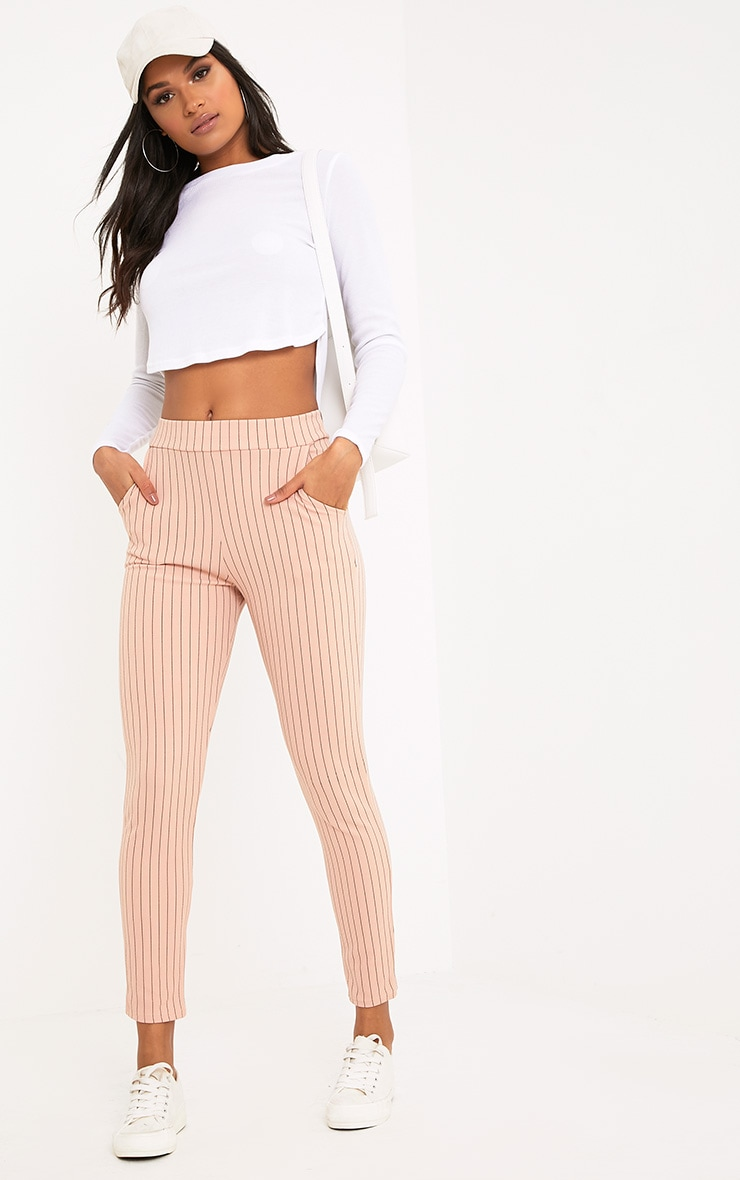 Sage Blush Stripe Trousers 1