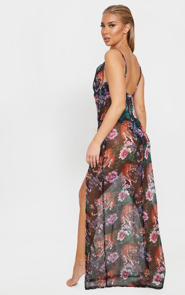Black Tiger Oriental Cowl Neck Split Leg Maxi Beach Dress 2
