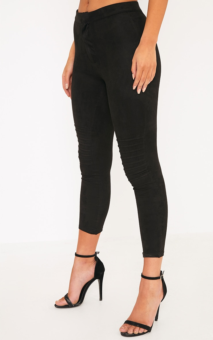 Kristy Black Faux Suede Knee Panel Cropped Trousers 5