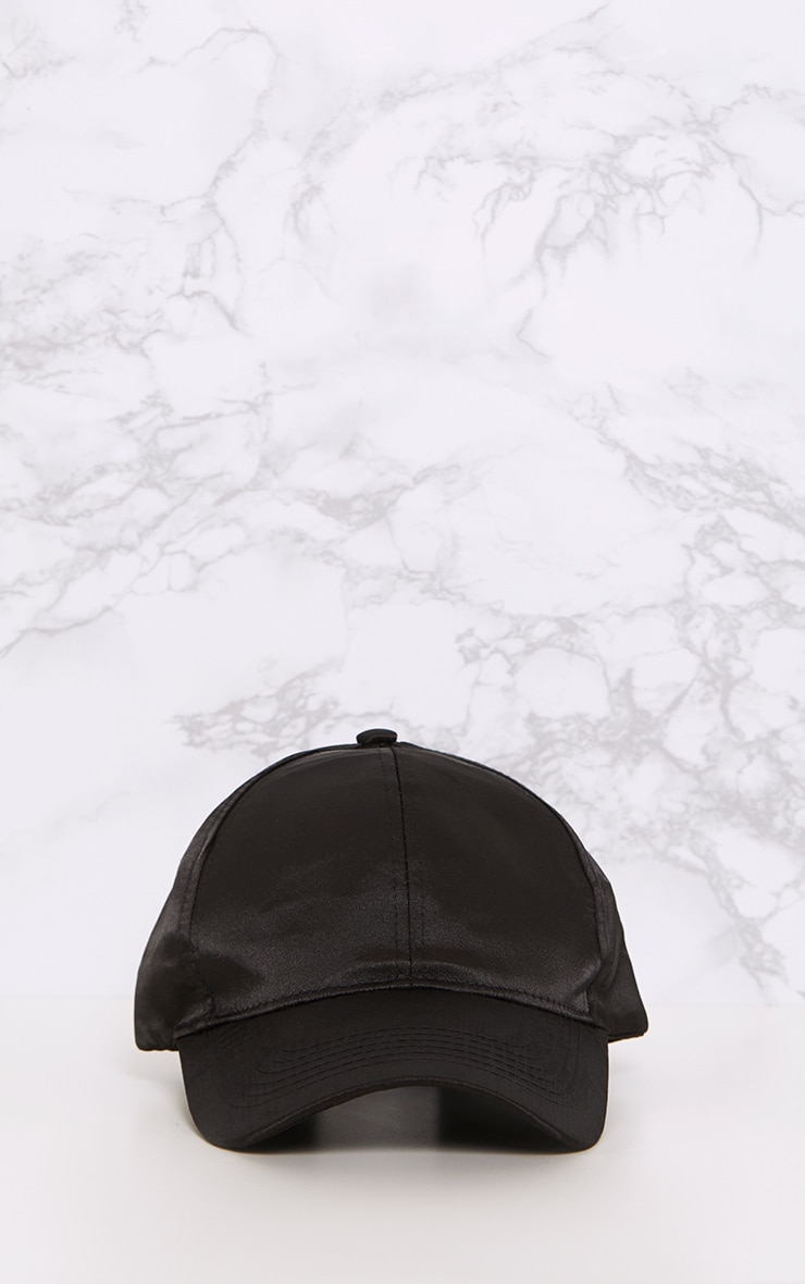 Weslyn Black Satin Baseball Cap 2