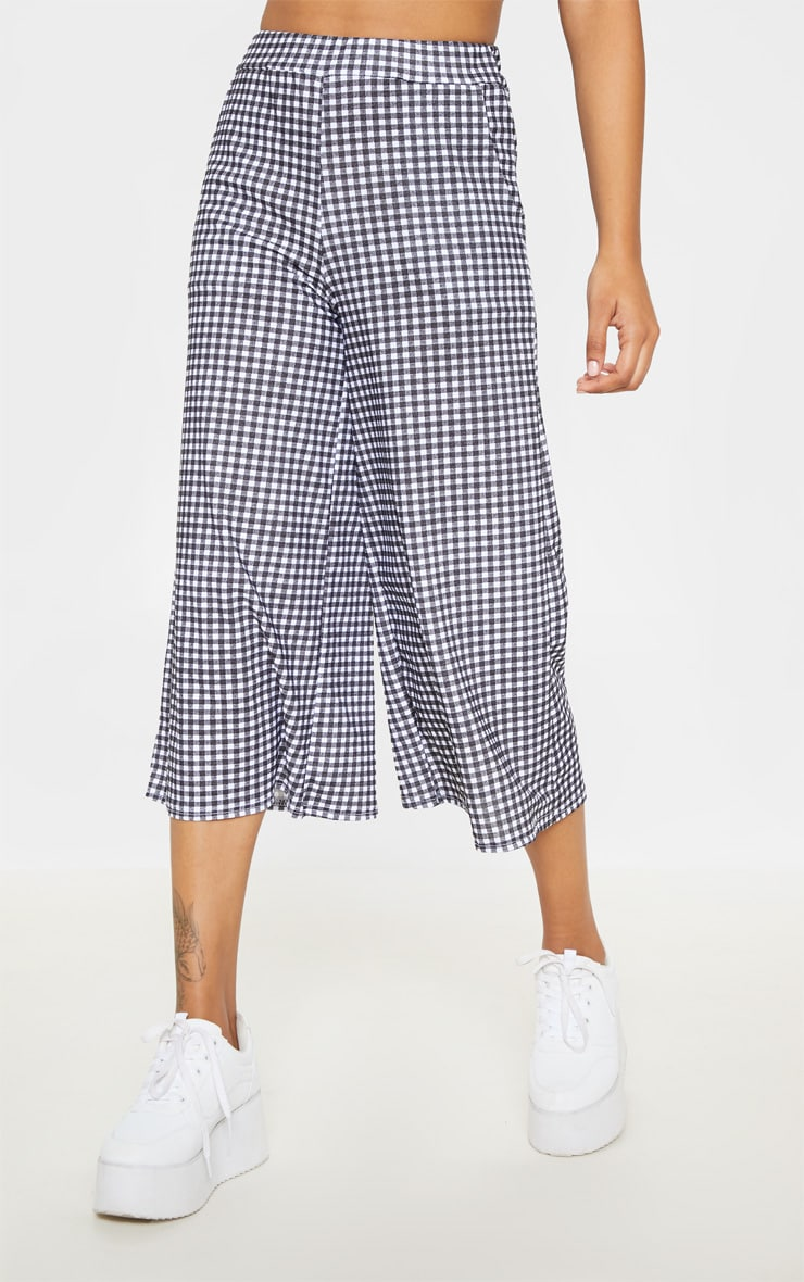 Black Gingham Pocket Detail Culottes 2