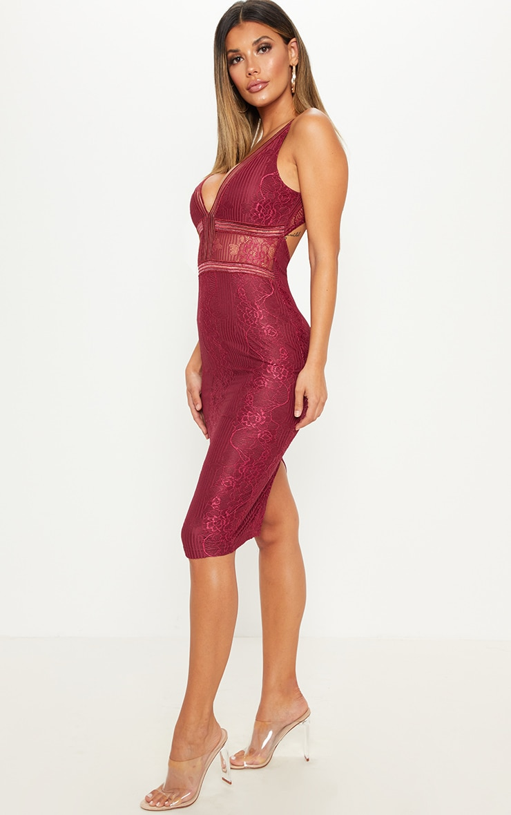 Burgundy Plunge Lace Open Back Midi Dress 4