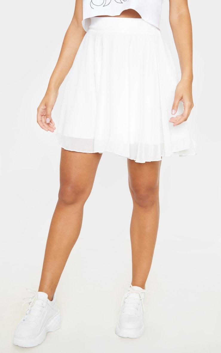 White Lightweight Woven Skater Skirt  2