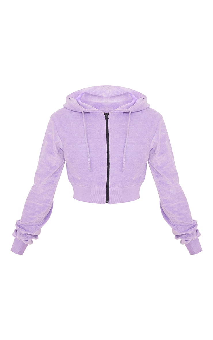 Petite Lilac Velour Cropped Hoodie 5