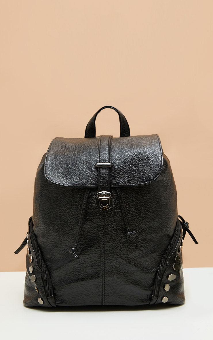 Black Studded Panel Rucksack 1