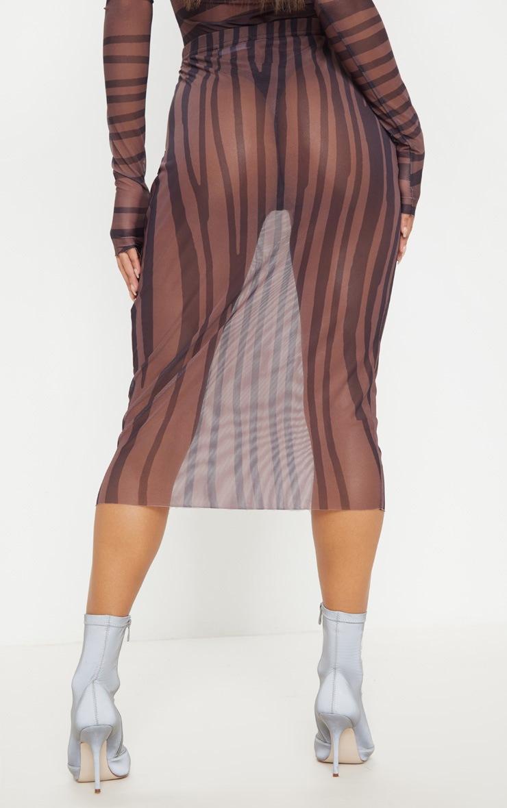 Brown Printed Mesh Midaxi Skirt 4