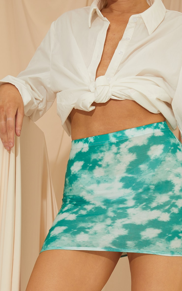 Teal Tie Dye Print Mini Skirt 4