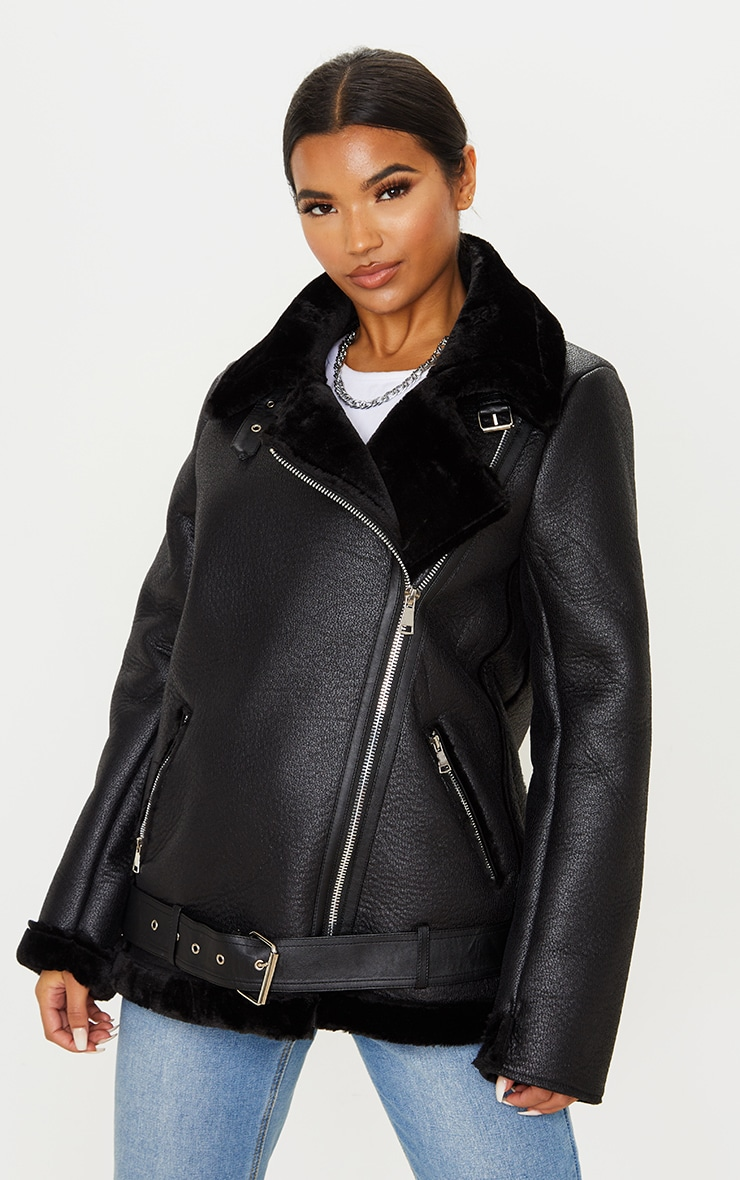 Black Oversized PU Aviator 2
